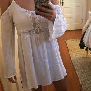 White long sleeve off the shoulder dress